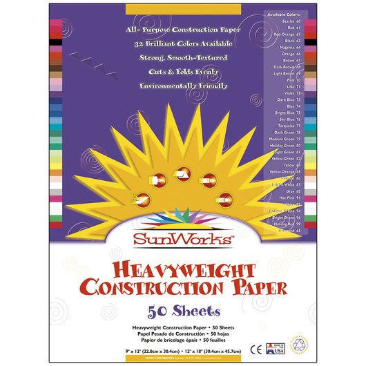 Pacon® SunWorks® Construction Paper - 9 in. x 12 in. - 50 Sheets - Assorted Colors