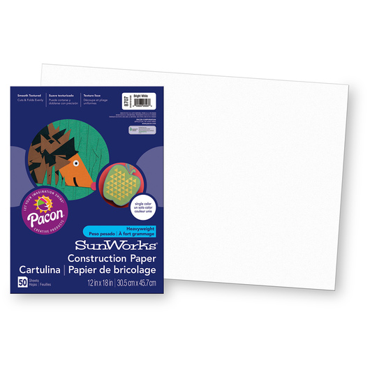 Pacon® SunWorks® Construction Paper - Bright White - 12 in. x 18 in.