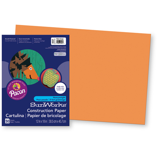 Pacon® SunWorks® Construction Paper - Yellow-Orange - 12 in. x 18 in.