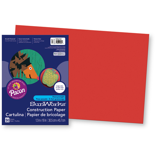 Pacon® SunWorks® Construction Paper - Holiday Red - 12 in. x 18 in.