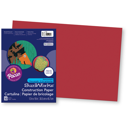 Pacon® SunWorks® Construction Paper - Red - 12 in. x 18 in.