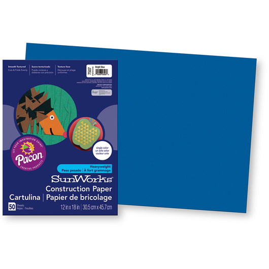 Pacon® SunWorks® Construction Paper - Bright Blue - 12 in. x 18 in.