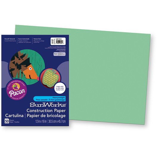 Pacon® SunWorks® Construction Paper - Light Green - 12 in. x 18 in.