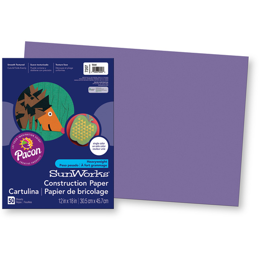 Pacon® SunWorks® Construction Paper - Violet - 12 in. x 18 in.