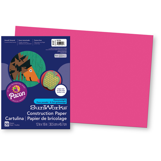 Pacon® SunWorks® Construction Paper - Hot Pink - 12 in. x 18 in.