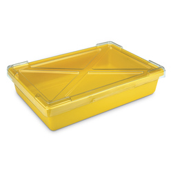Yellow Plastic Tote Tray, No Lid