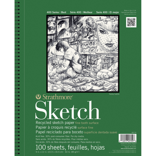 Strathmore® 400 Series Recycled Sketchbook - 9 in. x 12 in. 100 Sheets - 60 lb.