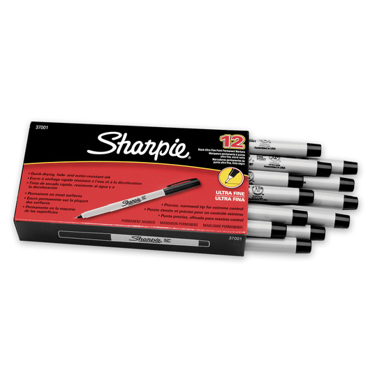 Sharpie® Ultra-Fine Point Markers - Box of 12 - Black