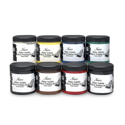 Nasco Water-Soluble Block Printing Ink Set of 8 - 8-oz. Jars