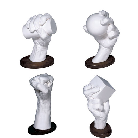 Male Hand Models Grasping Geometric Forms - Set of 4