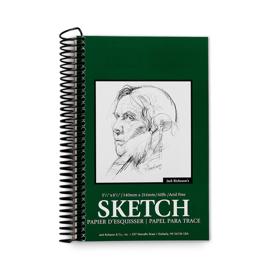 Jack Richeson® Spiral-Bound Sketchbook - 100 Sheets - 5-1/2 in. x 8-1/2 in. - 60 lb.