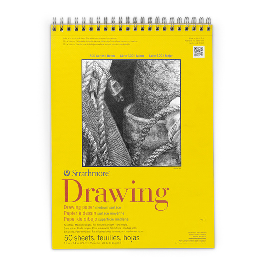Strathmore® 300 Series Spiral-Bound Drawing Pad - 11 in. x 14 in. - 50 Sheets - 70 lb.