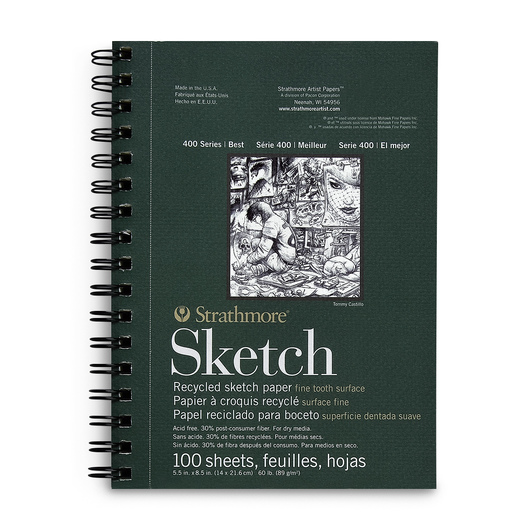 Strathmore® 400 Series Recycled Sketchbook - 5-1/2 in. x 8-1/2 in. 100 Sheets - 60 lb.