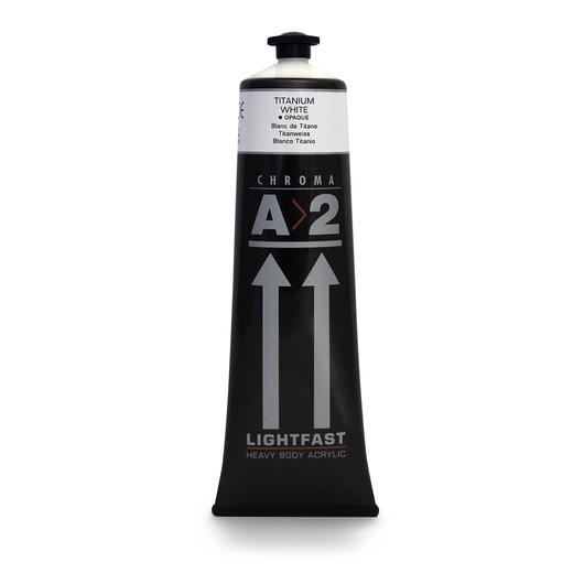 Chroma® A>2 Lightfast Heavy Body Artist Acrylic - 120 ml (4.06 oz.) Tube - Titanium White
