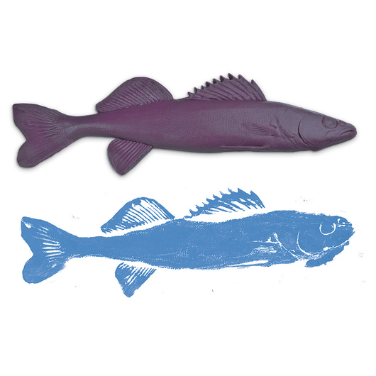 Fish Replica Rubber Stamp for Printmaking 17 in. L x 5-1/2 in. W - Walleye