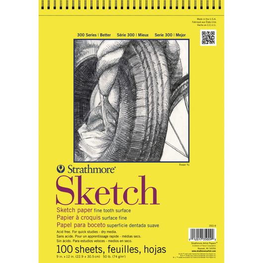 Strathmore® 300 Series Top Spiral Bound Sketch Pad - 50 lb. - 9 in. x 12 in. - 100 Sheets
