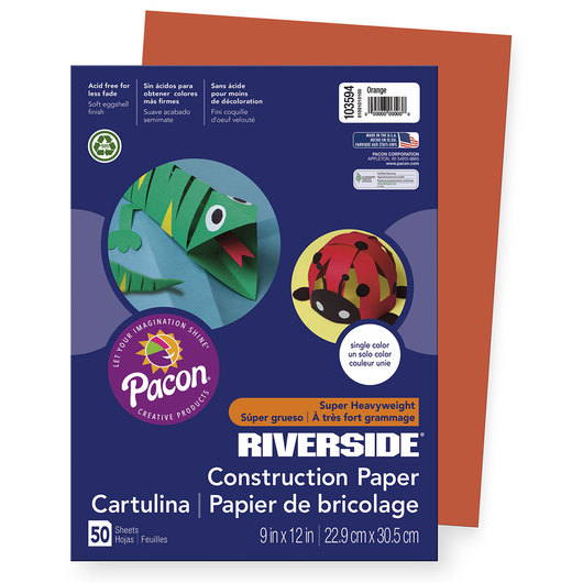 "Pacon® Riverside® ""Super Heavyweight"" Groundwood Construction Paper - 9 in. x 12 in. - Orange"