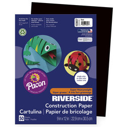 Pacon® Riverside® <q>Super Heavyweight</q> Groundwood Construction Paper - 9 in. x 12 in. - Black