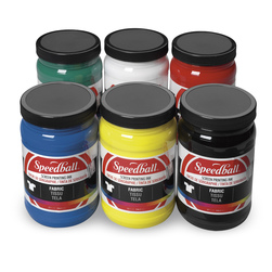 Speedball® Water-Soluble Fabric Screen Printing Inks - Set of 6 - 32-oz. Jars