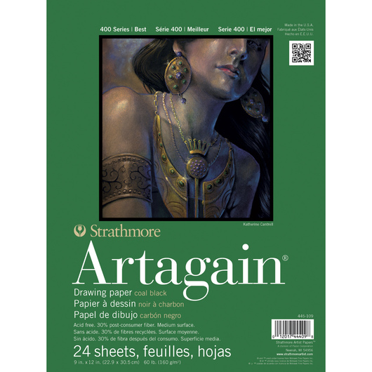 Strathmore® 400 Series Artagain® Black Pad - 24 Sheets - 9 in. x 12 in. - 60 lb.