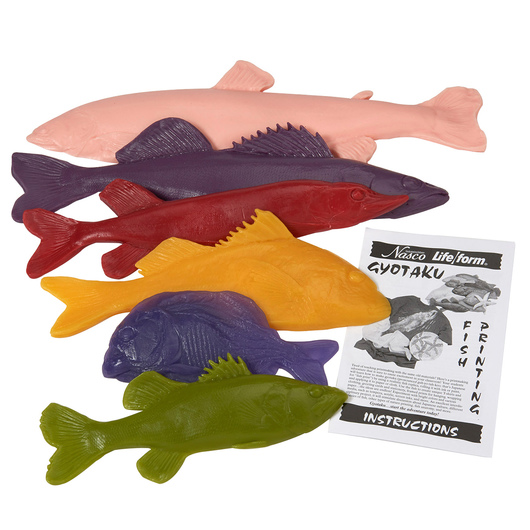 Nasco Fish Replica Rubber Stamp for Printmaking - Set of 6