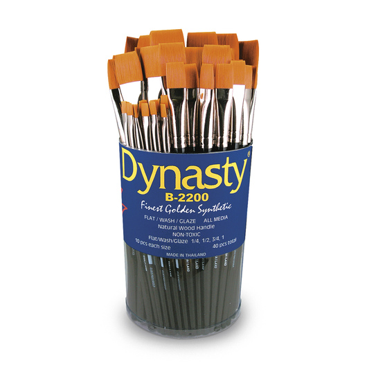 Dynasty® Finest Golden Synthetic Flat Brushes - B-2200 Set of 40
