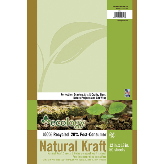Pacon® Ecology® Natural Kraft Sheets - Pkg. of 50 - 12 in. x 18 in.