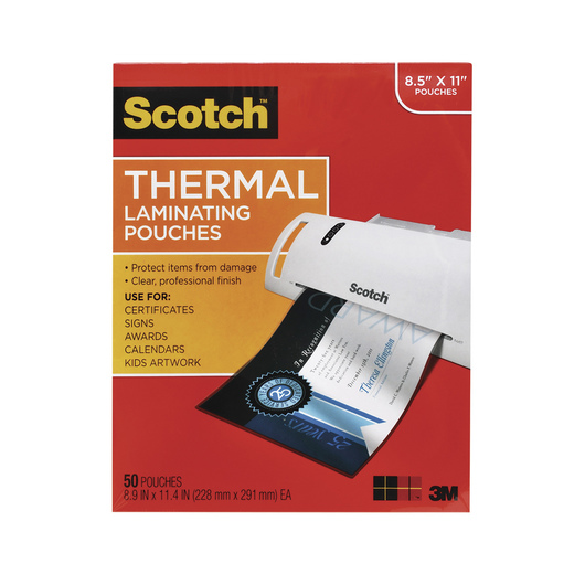 Scotch® Thermal Laminating Pouches - 8-1/2 in. x 11 in. - Pack of 50