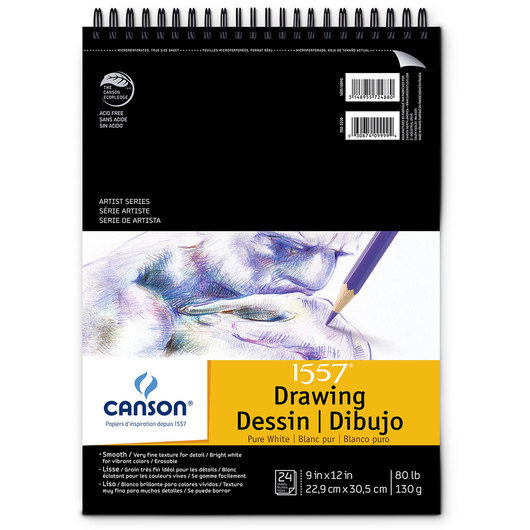 Canson® Pure White Artist Series Drawing Pad - 9 in. x 12 in.