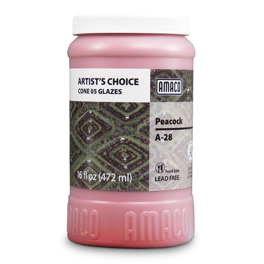AMACO® Lead-Free Low-Fire Artist's Choice Glaze (Cone 05) - A-28 Peacock - Pint
