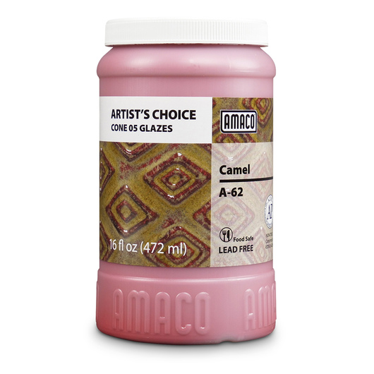 AMACO® Lead-Free Low-Fire Artist's Choice Glaze (Cone 05) - A-62 Camel - Pint
