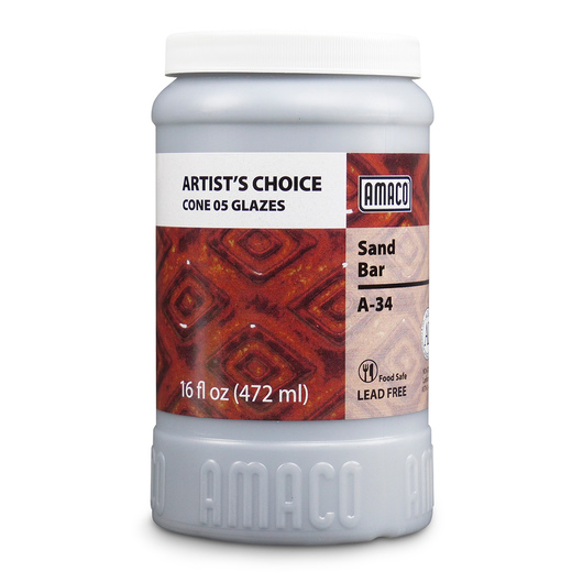 AMACO® Lead-Free Low-Fire Artist's Choice Glaze (Cone 05) - A-34 Sand Bar - Pint