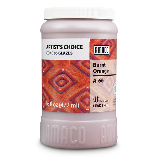 AMACO® Lead-Free Low-Fire Artist's Choice Glaze (Cone 05) - A-66 Burnt Orange - Pint