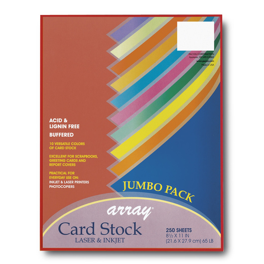 Pacon® Array® Assorted Colors Card Stock - 250-Sheet Jumbo Pack - 8-1/2 in. x 11 in. - 65 lb.