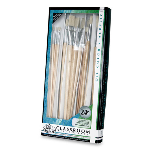 Royal Brush® Long-Handle Natural Bristle Hair Brush Classroom Value Pack - Set of 24