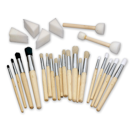 Stencil Brushes and Foam Sponges - Set of 25