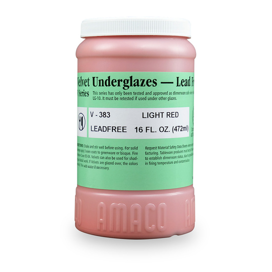 AMACO® Lead-Free Velvet Underglaze - Pint Jar - V-383 Light Red