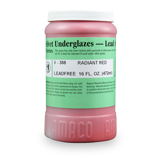 AMACO® Lead-Free Velvet Underglaze - Pint Jar - V-388 Radiant Red