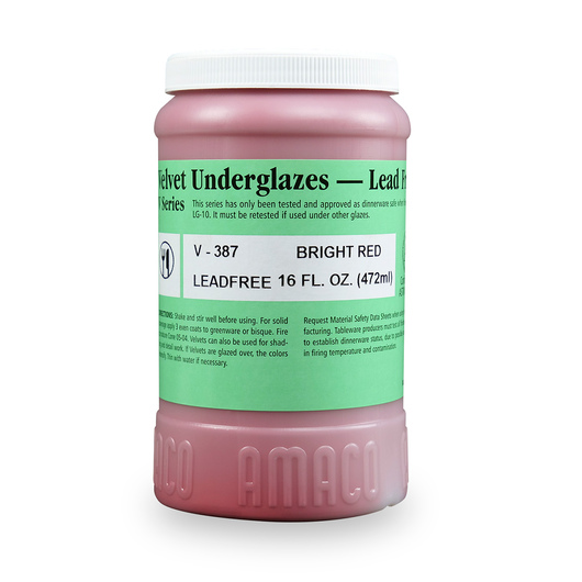 AMACO® Lead-Free Velvet Underglaze - Pint Jar - V-387 Bright Red