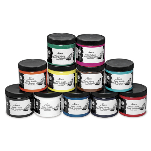 Nasco Water-Soluble Block Printing Ink Set of 11 - 16-oz. Jars