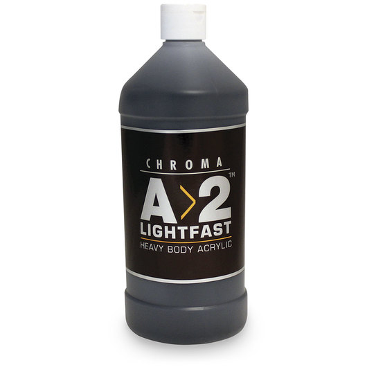 Chroma® A>2 Lightfast Heavy Body Artist Acrylic Liter Bottle - Ivory Black