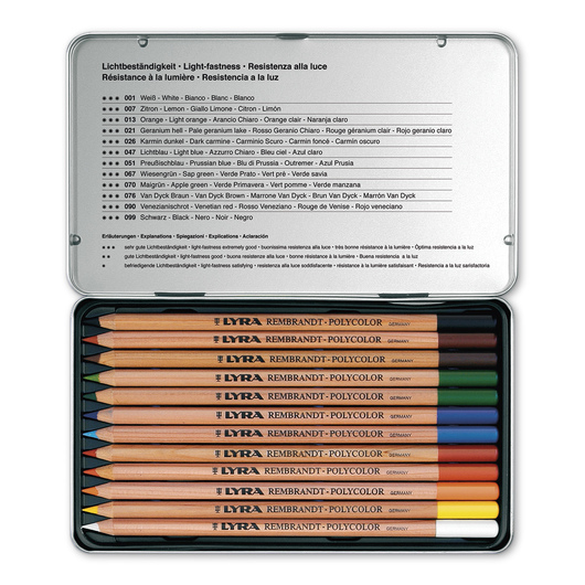 LYRA® Rembrandt Polycolor Premium Oil-Based Colored Pencils - 12-Color Set