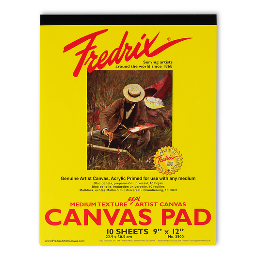 "Fredrix® ""Real""Canvas Pad - 9 in. x 12 in. - 10 Sheets"