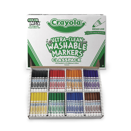 Crayola® Ultra-Clean Washable® 8-Color Conical-Tip Classpack® of 200