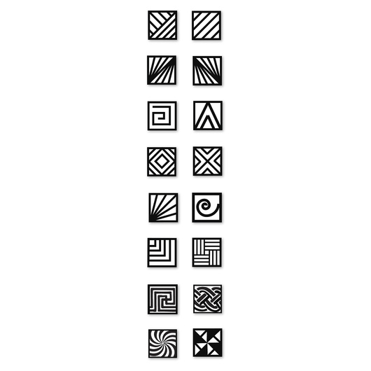 Nasco MKM Stamps4Clay - Small Square Stamp Set of 8