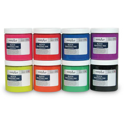 Handy Art Water-Soluble Block Fluorescent Ink - Set of 8 - 8 oz.