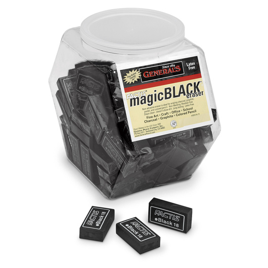 General's® Factis® Magic Black™ Erasers - Tub of 72