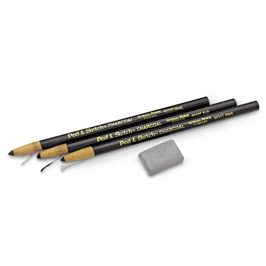 General's® Peel & Sketch™ Paper-Wrapped Charcoal Pencils - Set of 3