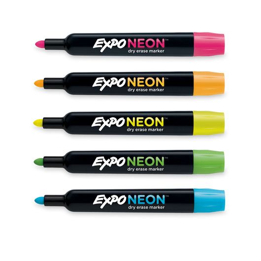 EXPO® Low-Odor Neon Bullet Tip Dry-Erase Markers - 5-Color Set