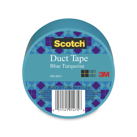 Scotch® Lightweight Colored Duct Tape - 1-7/8 in. x 20-yd. Roll - Aqua/Turquoise